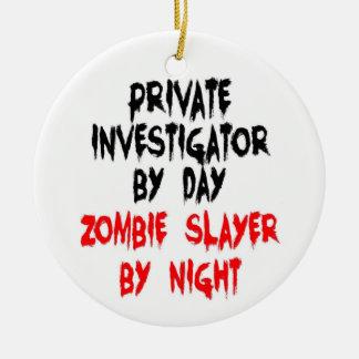 Private Investigator Zombie Slayer Round Ceramic Ornament