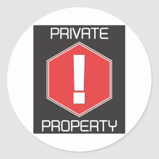 Private Property Round Sticker