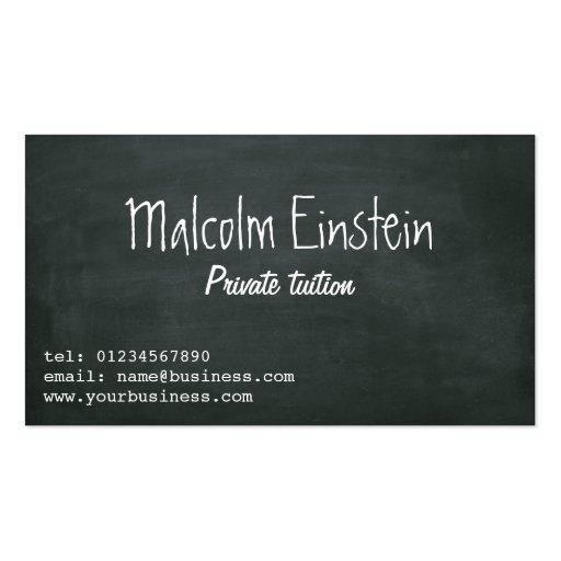 Private tutor blackboard script business card templates