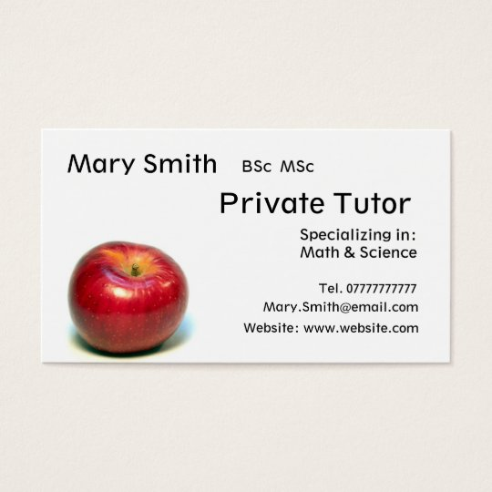 Private Tutor Teacher Personal Tutor Business Business Card