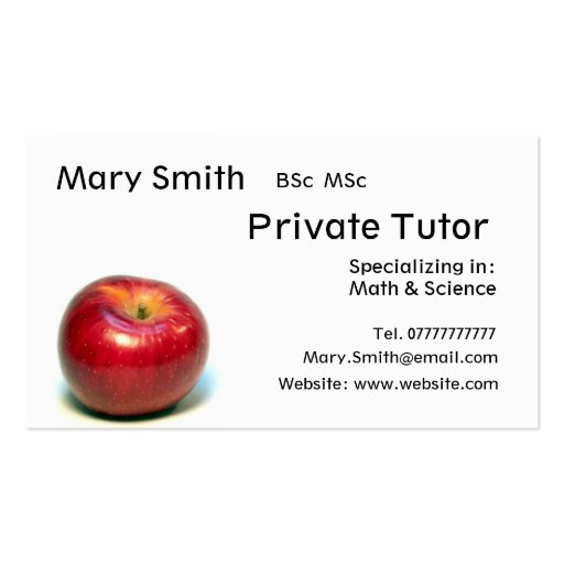 Private Tutor / Teacher / Personal Tutor business Business Card Template
