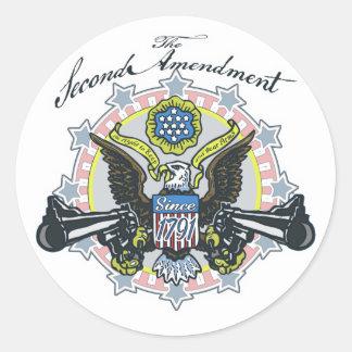 Pro 2nd Amendment Gun-Toting Eagle Gear Round Sticker