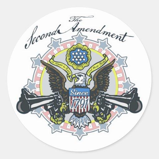 Pro 2nd Amendment Gun-Toting Eagle Gear Round Stickers