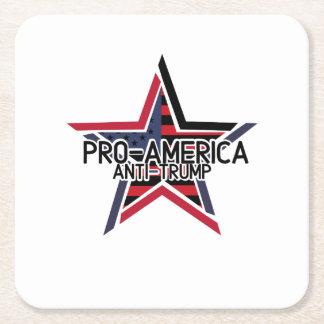 Pro-America Anti-Trump Square Paper Coaster