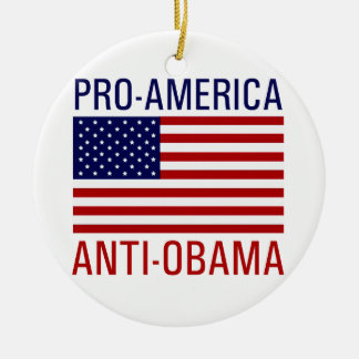 PRO-AMERICAN ANTI-OBAMA ROUND CERAMIC ORNAMENT