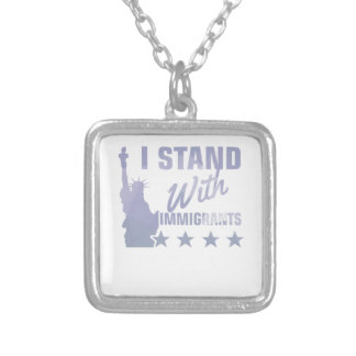 Pro immigration statue of liberty shirt silver plated necklace
