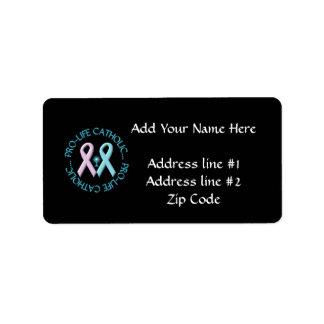 Pro-Life Catholic w/Monstrance & Pink/Blue Ribbons Label
