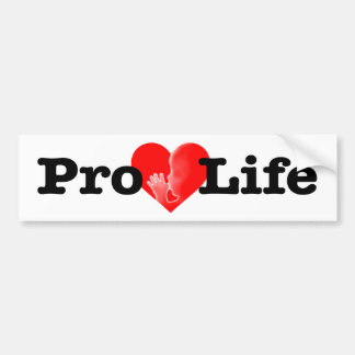 """PRO-LIFE HEART WITH BABY SUCKING ITS THUMB"" BUMPER STICKER"