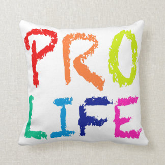"""PRO LIFE"" (IN RAINBOW CRAYONS) THROW PILLOW"
