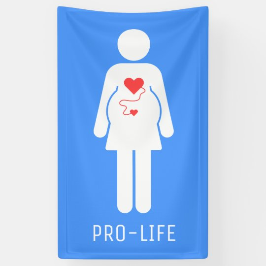 Pro Life Pregnant Woman Icon Banner