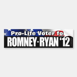 Pro-Life Voter For Romney/Ryan Bumper Sticker