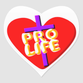 Pro Life with Christian heart design Heart Sticker