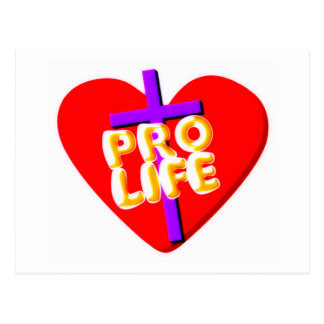 Pro Life with Christian heart design Postcard