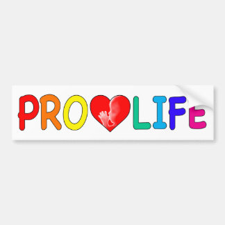"""PRO LIFE"" (WITH FETUS IN HEART & RAINBOW LETTERS) BUMPER STICKER"
