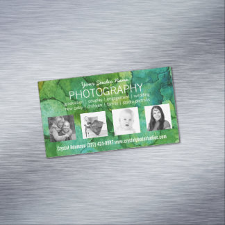 Pro Photographer with 4 Custom Sample Photos Magnetic Business Card