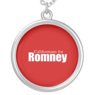 PRO-ROMNEY - CALIFORNIANS FOR ROMNEY -- .png Round Pendant Necklace