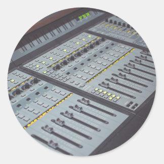 Pro Studio Music Studio Console Music Audio Studio Classic Round Sticker