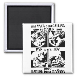 Pro Vegetarian Livestock Advertising Square Magnet