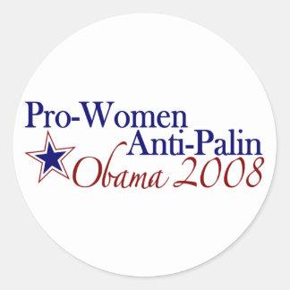 Pro Women Anti Palin (Obama 2008) Round Stickers