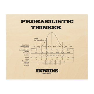 Probabilistic Thinker Inside Normal Distribution Wood Print