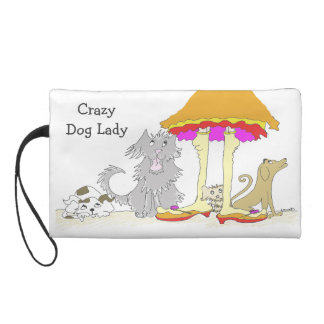 Proceeds to Animal Charity Crazy Dog Lady Wristlet Purses