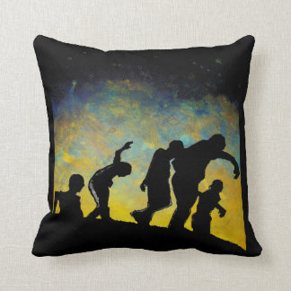 Procession to Breakfast Zombie Silhouette Pillow