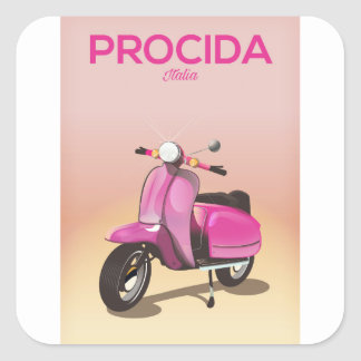 Procida Italy scooter vacation poster Square Sticker