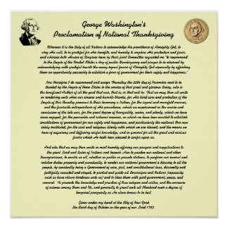 Proclamation de jour de thanksgiving par George Affiche