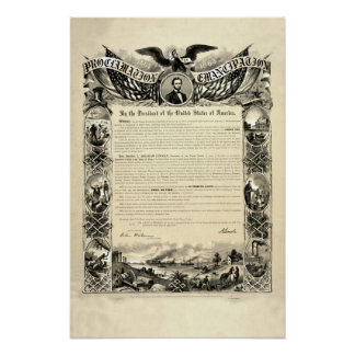 Proclamation of Emancipation by Abraham Lincoln Poster