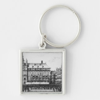 Proclamation of the peace Silver-Colored square keychain