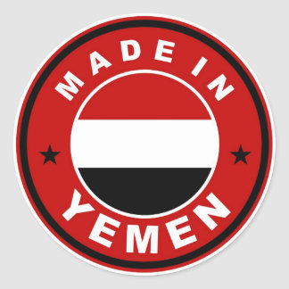 product country flag label made in yemen round sticker