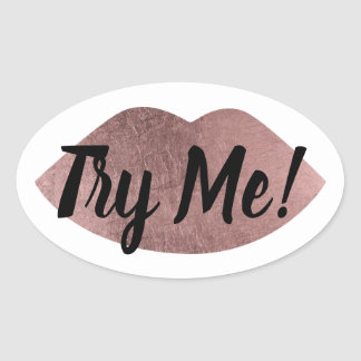 Product Tester Sample Try Me Rose Gold Lips Oval Sticker