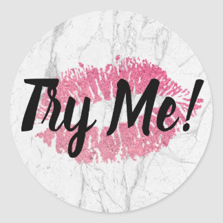 Product Tester Try Me Pink Lips White Marble Classic Round Sticker