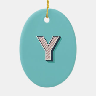Product with letter Y Ceramic Oval Ornament