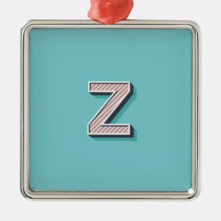 Product with letter Z Silver-Colored Square Ornament