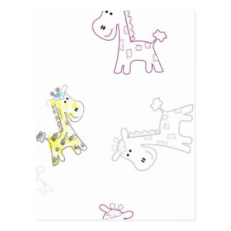 product with pattern colorful sketch of Giraffe Postcard