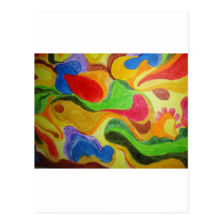 Product with vibrant colorful floating design postcard