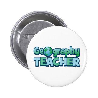 Professeur bleu de géographie de globe macaron rond 5 cm