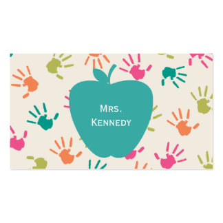 Professeur coloré d'Apple Handprints de turquoise Carte De Visite
