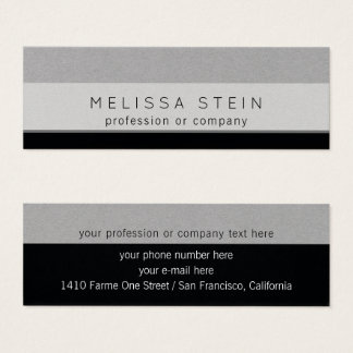 profession or company gray/black mini business card