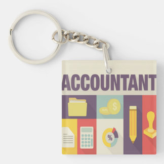 Professional Accountant Iconic Design Double-Sided Square Acrylic Keychain