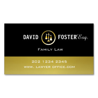 Professional Attorney Law Office Gold Justice Logo Business Card Magnet