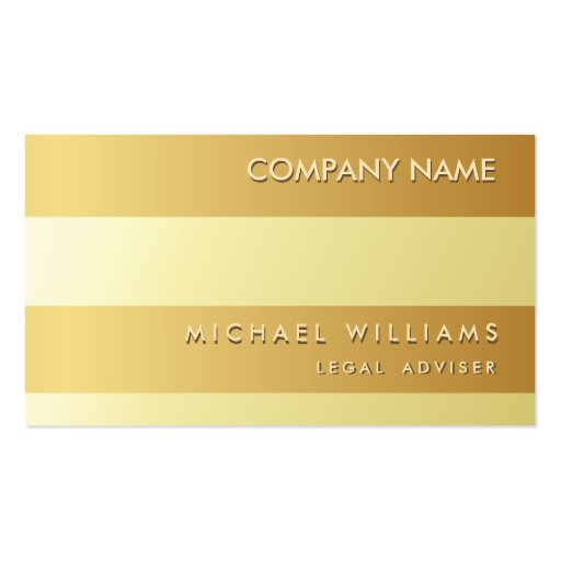 Professional Attorney Lawyer Law Firm Gold Metal Business Cards