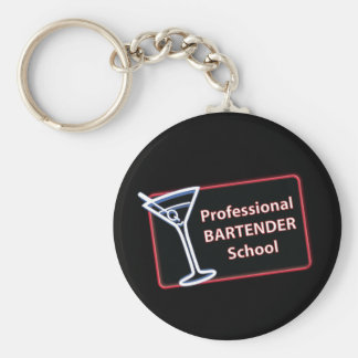 Professional Bartender School Logo Button Keychain