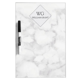 Professional Best Friend White Marble Monogram Dry Erase Board