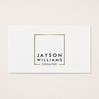 Professional Black and Faux Gold Square Logo I Business Card