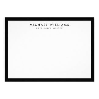 """Professional Black and White Flat Note Card 4.5"""" X 6.25"""" Invitation Card"""