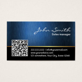 Professional Black & Blue QR Code Business Card