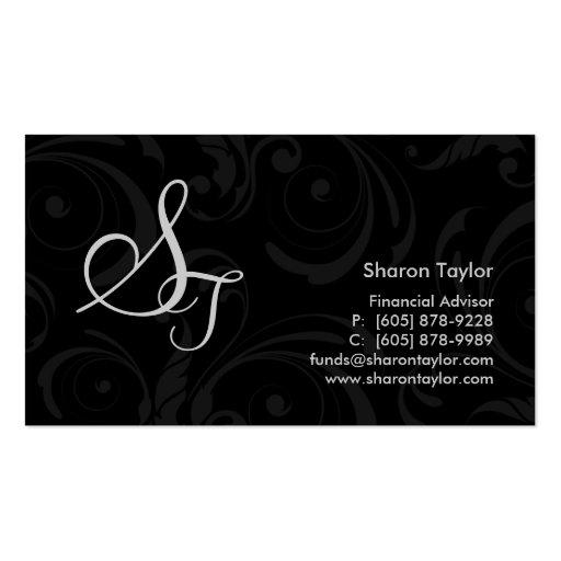 Professional Black & Gray Business Card Swirls