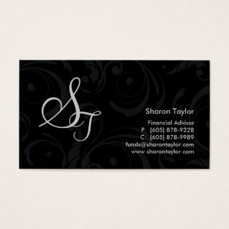 Professional Black & Gray Business Card Swirls